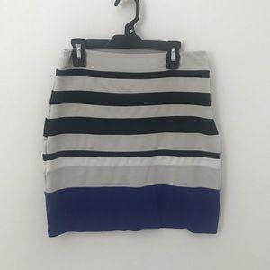 Striped stretch mini skirt. Fits nice.